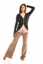 OMgirl Mystical Cardi in Black & Marble Velour Sutra Pant in Bubble Bath