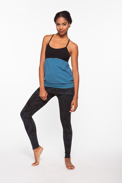 Top: Mukta Cami in Blue Cosmo, Bottom: Nomad Legging Terrain Wash in Black