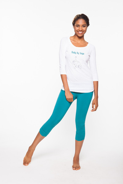 Top: Zen Daily Baseball Tee in White, Bottom: Ahimsa Capri in Blue Hawaii